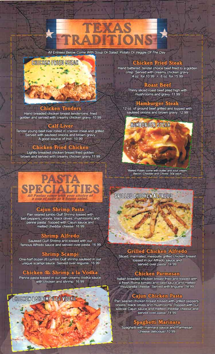 Texas A1 Steaks & Seafood Restaurant Menu in Corpus Christi, Texas.