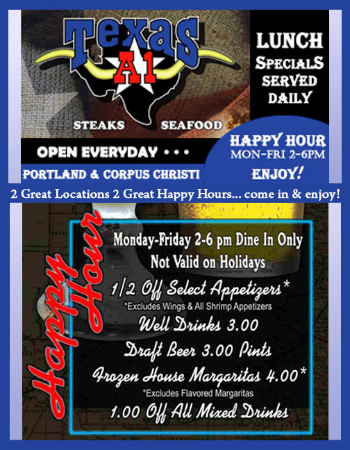 Happy Hour weekdays 2-6pm... enjoy!