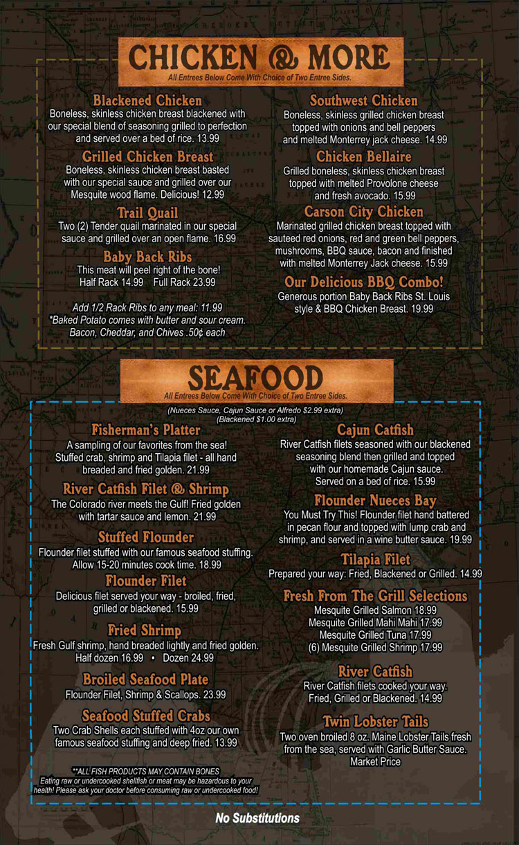 Texas A1 Steaks & Seafood Restaurant Menu in Portland, Texas.